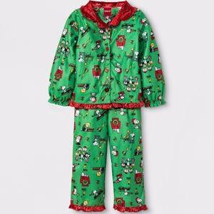 Peanuts Toddler Girls 2pc Pajama Set Green Red